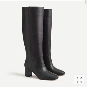 J. Crew Willa Slouch Tall Leather Black Boots 7.5